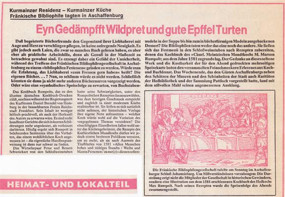 Schlossweinstuben Aschaffenburg - Main Echo 11 10 1977