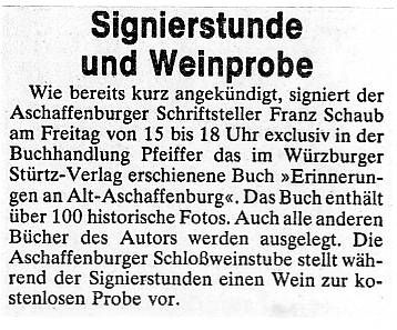Schlossweinstuben Aschaffenburg - Main Echo 04 10 1978