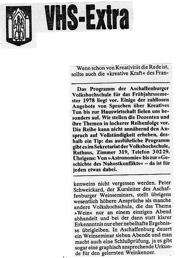 Schlossweinstuben Aschaffenburg - Main Echo 14 02 1978