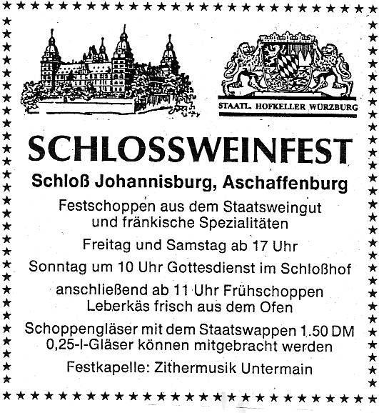 Schlossweinstuben Aschaffenburg - Main Echo 19 07 1991