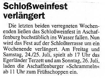 Schlossweinstuben Aschaffenburg - Main Echo 22 07 1998