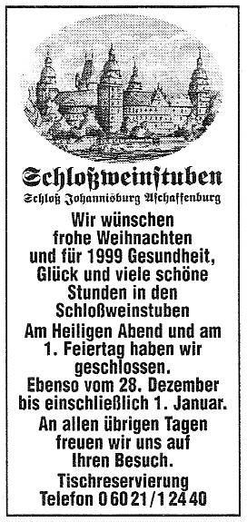 Schlossweinstuben Aschaffenburg - Main Echo 23 12 1998